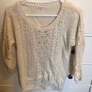 Pink Rose Cream lace detail sweater